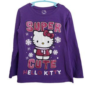 HELLO KITTY Purple Glittery Long Sleeve T Shirt S